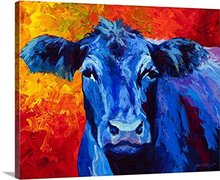 Modern Wall Art 100% Handpainted Abstract Pictures Blue Cow Pictures on Canvas Oil Paintings for Wall and Home Decorations