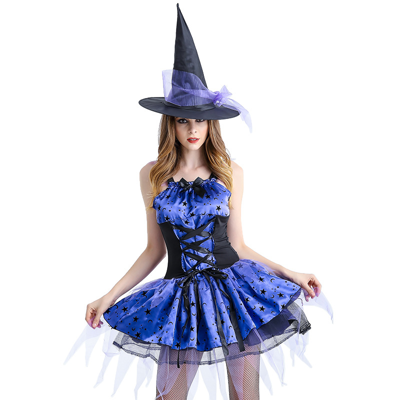 Free Shipping Witch Purple With Black  Mesh Dress Hat Women Set Demon Witch Cosplay Uniforms Female Halloween Costumes