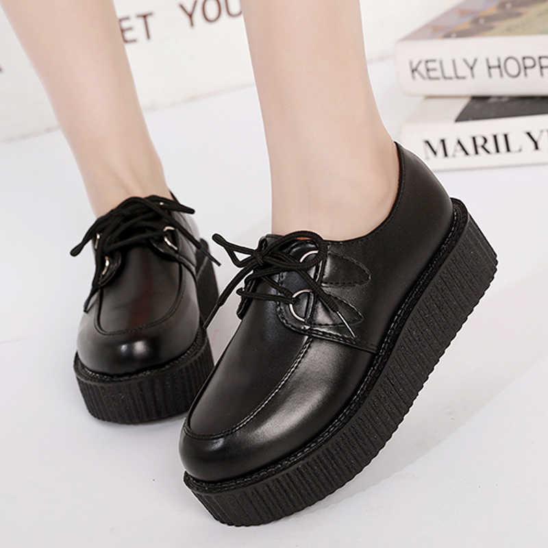 Обувь на толстой подошве модная женская обувь Дамская обувь на платформе со шнуровкой 2019 г. удобная женская прогулочная обувь на плоской подошве, большие размеры 41
