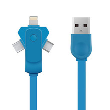 Smart three in one Data cables multifunction 360 Degree Free Rotation fast charging data transmission for ios Type-C Micro USB