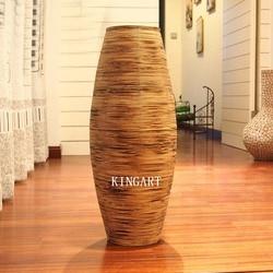 Bożonarodzeniowa retro wazon bambusowy duża podstawa wazon duży antyczny Vintage salon ozdoba do domu rękodzieło wazon na kwiaty dekoracja wazon podłogowy