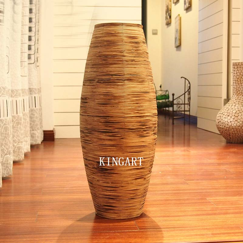 Jul Retro Bambu Vase Stor Golv Vase Stor Antik Vintage Vardagsrum Heminredning Craft Flower Vase Decoration Golvvase