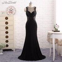 Black Formal Evening Dresses Long Vestido De Festa Mermaid Crystal Beaded Sheer Party Prom Gown Abendkleider