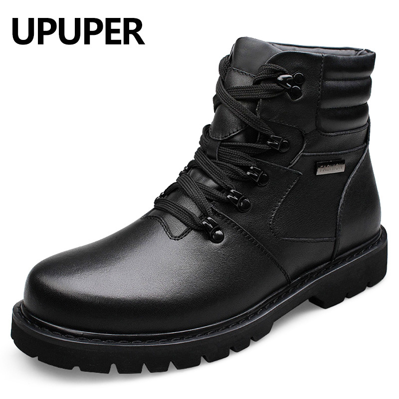 Big Size 37 48 Men Leather Boots Winter Warm Men Working Boots 100 Natural Leather Men
