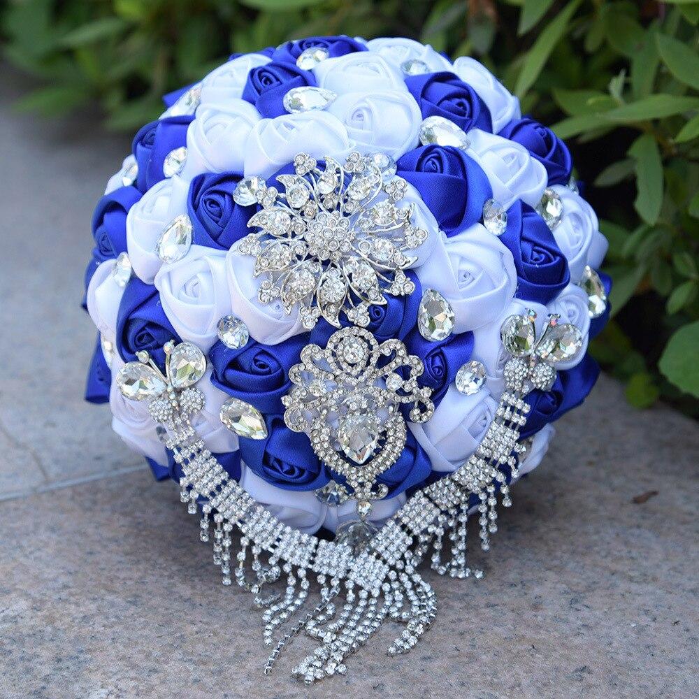AYiCuthia Bouquet De Mariage Mauve Royal Blue/Purple/Black Bridal Bouquet Wedding Silk Roses Brides Wedding Bouquet With Crystal