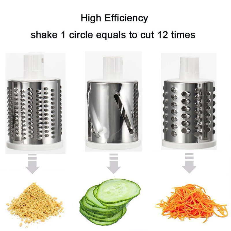 Multifunction Round Mandoline Slicer with 6 Changeable Stainless Steel Blades as Kitchen Tool