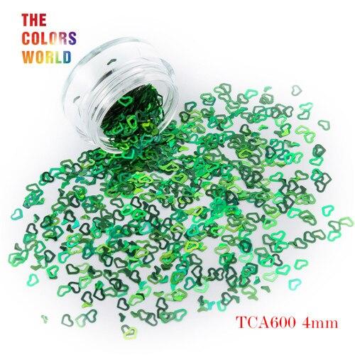 Tct-050 полые сердца Форма Лазерная красочные Глиттеры для ногтей 4 мм Размеры для ногтей Гели для ногтей украшения Макияж facepaint DIY украшения - Цвет: TCA600  200g