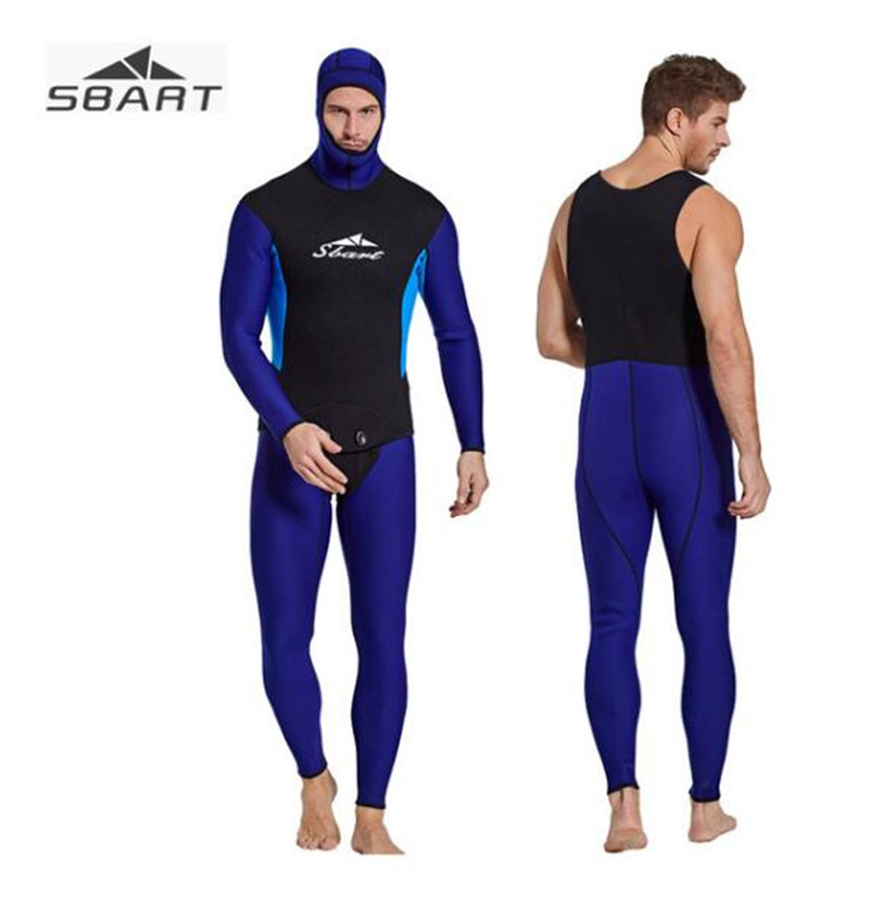 SBART 3MM Fullbody Mens Wetsuit With Hood Neoprene Two-Pieces Keep Warm Patchwork Spearfishing Diving Underwater Hunting Suit sbart upf50 rashguard 2 bodyboard 1006