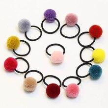 a04ad3206af70 8 قطعة الوحدة الأزياء مرونة المطاط العصابات الشعر الاطفال hairball أغطية  الرأس لينة النسيج حلوى لون الفتيات الاطفال الأطفال إكسس.