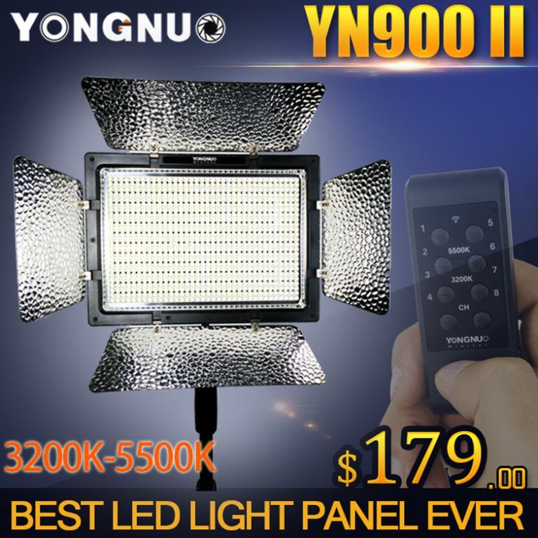 YONGNUO YN900 High CRI 95+ Wireless 3200K-5500K LED Video Light Panel,YN-900 900 Lamp Beans 7200LM 54W Led Lighting yongnuo yn900 54w 900 led 3200k 5500k adjustable video light w filters black