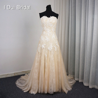 Sweetheart Champagne Light Wedding Dresses Lace Appliqued Real Photo Quality Alibaba Bridal Gown