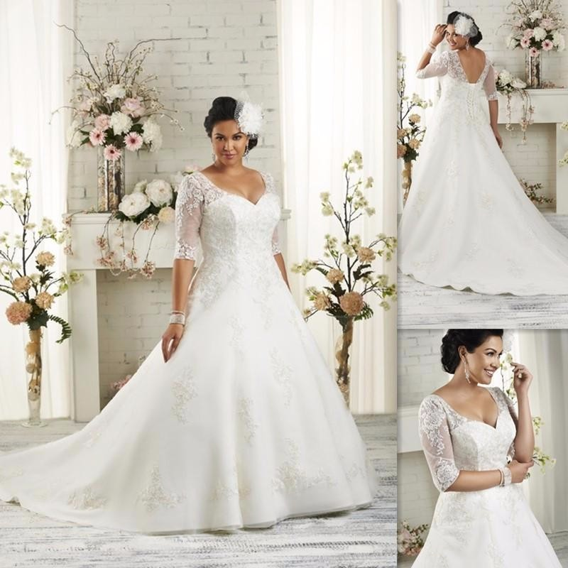 Plus size wedding dresses half sleeves 2017 a line white for Plus size wedding dresses with color and sleeves