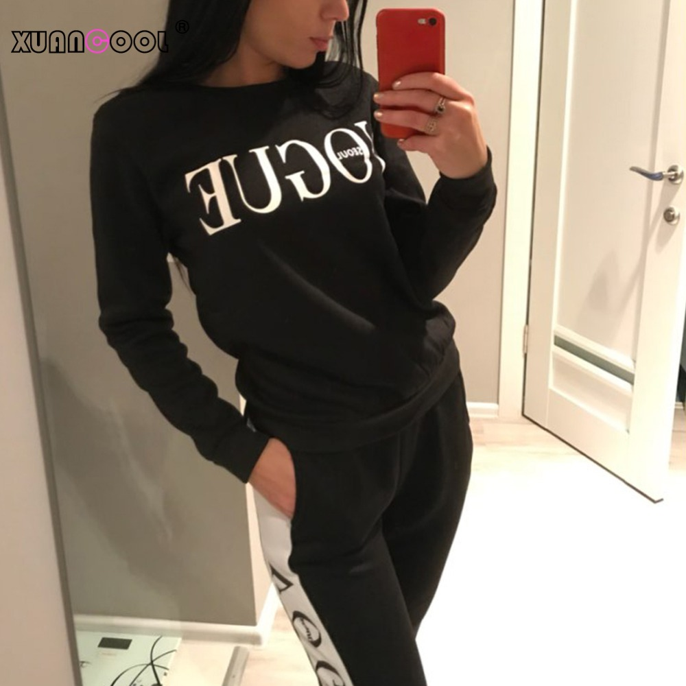 XUANCOOL New 2019 Women 2 Piece Clothing Set Casual Fashion Vogue Sweatshirt+Long Pants Tracksuit For Women Hoodie Suit
