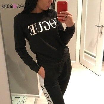 Xuanool, nuevo 2019, conjunto de ropa de 2 piezas para mujer, sudadera informal a la moda de moda + Pantalones largos, chándal para mujer, Sudadera con capucha, traje