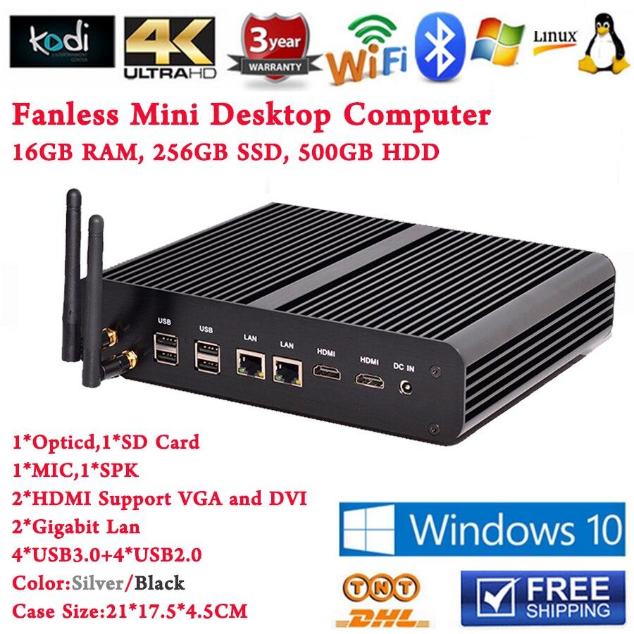 все цены на  16GB RAM 256GB SSD 500GB HDD Mini PC Computer Windows 10 Linux Desktop 2 Nics Industrial Fanless PC Intel Core i7 5500u i5 5250U  онлайн