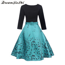 Dreamjieshi Elegant Women Vintage Print dress pinup Tunic Casual Work Party Cocktail 3/4 Sleeve Patchwork Swing a-line Dress