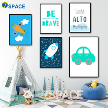 Cartoon Aircraft Rocket Car Quote Wall Art Canvas Posters And Prints Canvas Painting Nordic Poster Wall Pictures Kids Room Decor black white cartoon planet quote wall art print canvas painting nordic canvas poster and prints wall pictures kids room decor