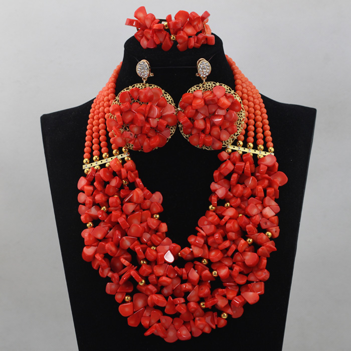 2016 Fashion Red Coral Beads Jewelry Set Wedding Jewelry Set African Jewelry Set High Quality Free Shipping ABL647