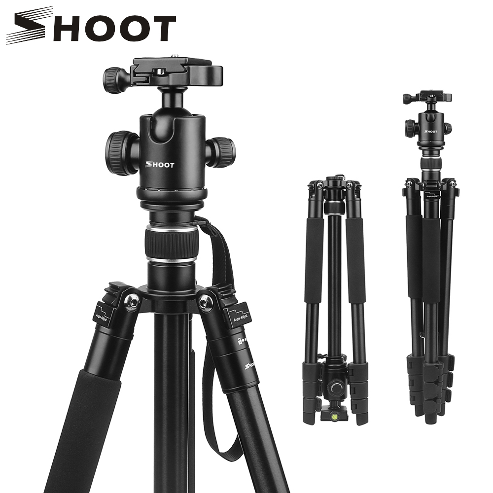 SHOOT Professional Portable Travel Camera Tripod Aluminum Alloy 4 Sections Tripod Stand for Canon Nikon SLR DSLR Digital Camera-in Tripods from Consumer Electronics