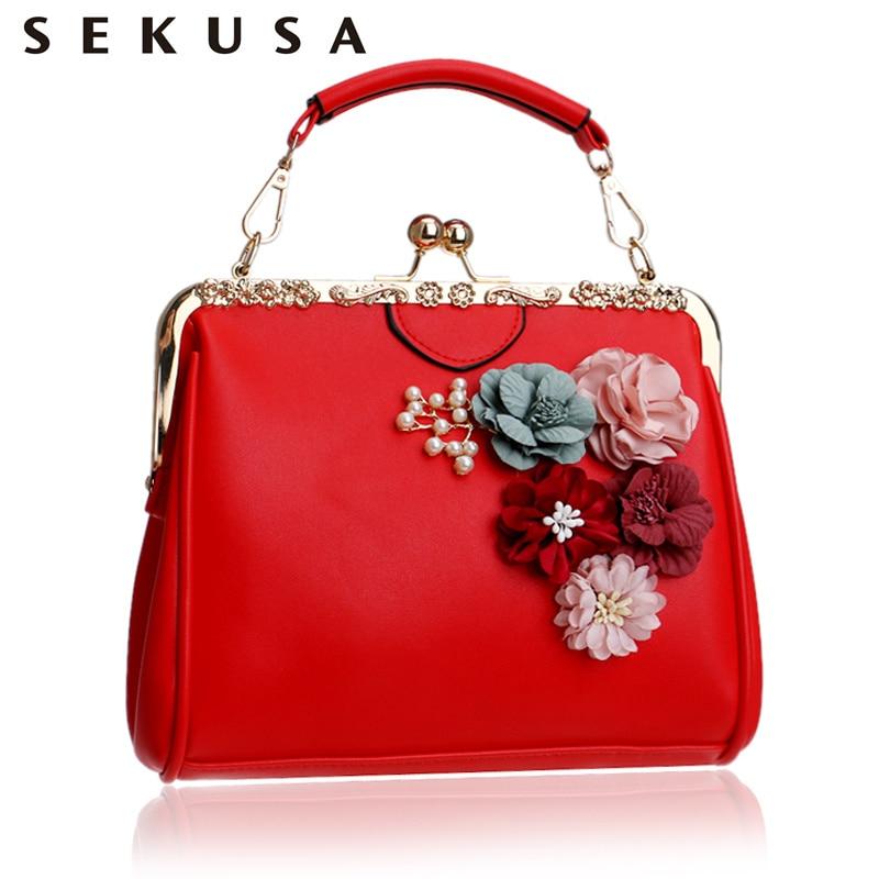 SEKUSA Women Flower Evening Bag Pu Fashion Small Day Clutch With Chain Shoulder Handbags Colorful Beaded Summer Evening Bag