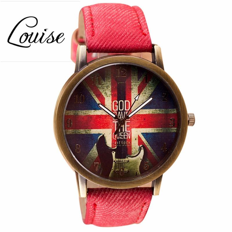 Louise Retro Fashion UK Flag Watch Relogio Feminino Clock Wrist Women Watches Men Quartz Watches Reloj Mujer Motre Femme Luxe