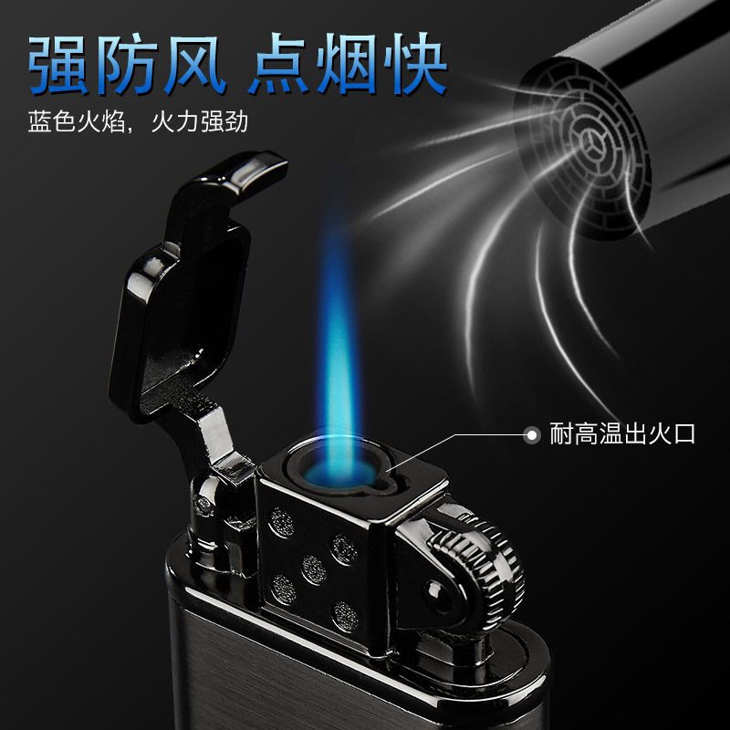 Inflation Lighter Windbreak Blue Flame Personality Originality Man Metal Straight Welding Torch