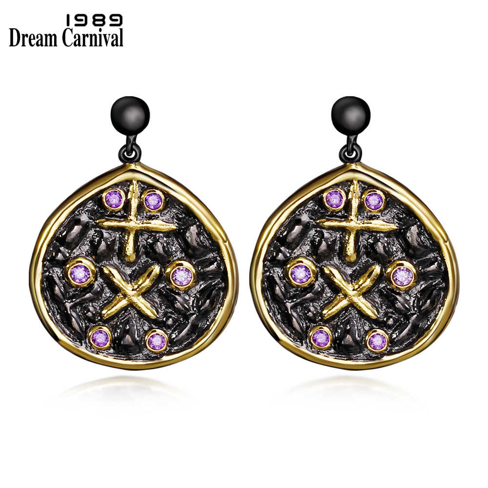 DreamCarnival 1989 Light Purple Zircon Earrings for Women Cross Sign Black Gold Color boucle d'oreille Hip Hop Costumes Jewelry