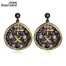 DreamCarnival 1989 Light Purple Zircon Crystals Stylish Vintage Black Gold Color Costumes Women Earings Fashion Jewelry SE3313