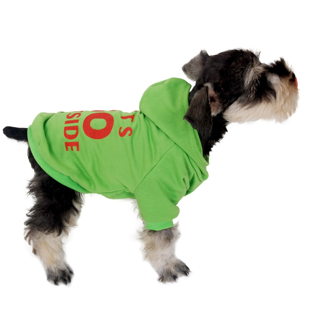 Pet Winter Clothes Dog Sweater Warm Puppy Coat Lets Go Outside Sweatshirt S-XXL Sizes Puppy Hoodies Green Red Black White