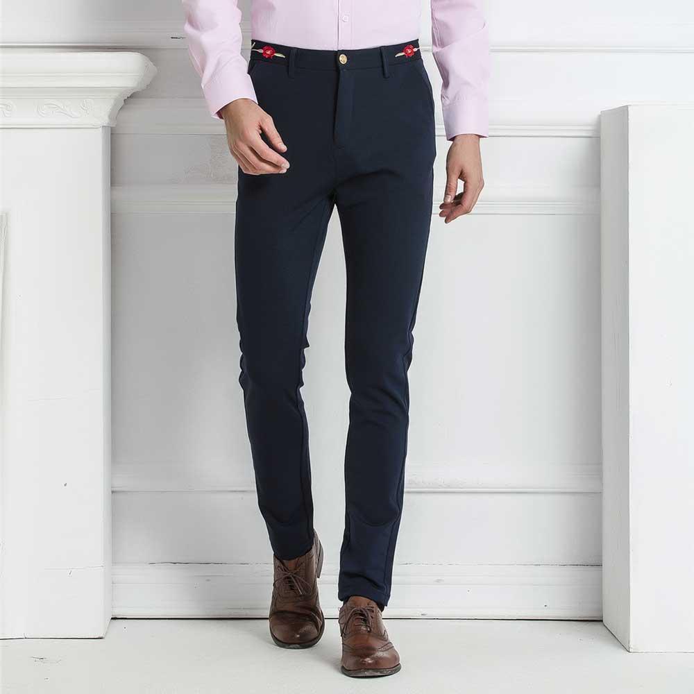2016 NEW Mens Slim Fit Solid Suit Pants Blazer Dress Pants Stretch Casual Formal Wear Business ...