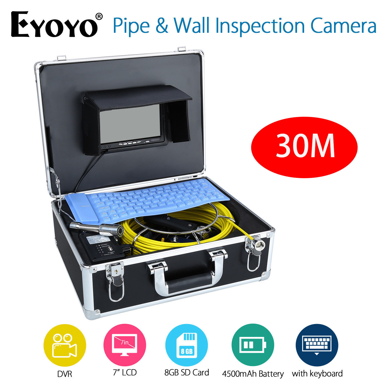 EYOYO 7inch LCD Screen 30M HD 1000TVL 4500MAh Sewer Drain Camera Pipe Wall Inspection Endoscope Cam + Keyboard DVR Recording 8GB