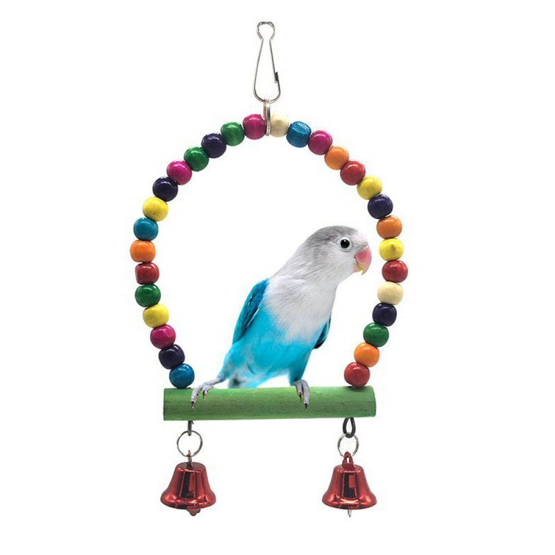 Home & Garden Smart 2019 Natural Wooden Parrots Swing Toy Birds Perch Hanging Swings Cage With Colorful Beads Bells Toys Bird Supplies