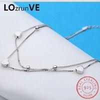 LOZRUNVE Original 2018 Brand S925 Sterling Silver Bracelet on the Leg Fashion Box Chain Heart Anklet Women Wholesale
