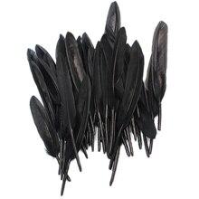 50 шт черное гусиное перо длиной 4-6,5 дюйма для художественных открыток, одежды, шляп, сумок, рукоделия, свадебного декора, аксессуары