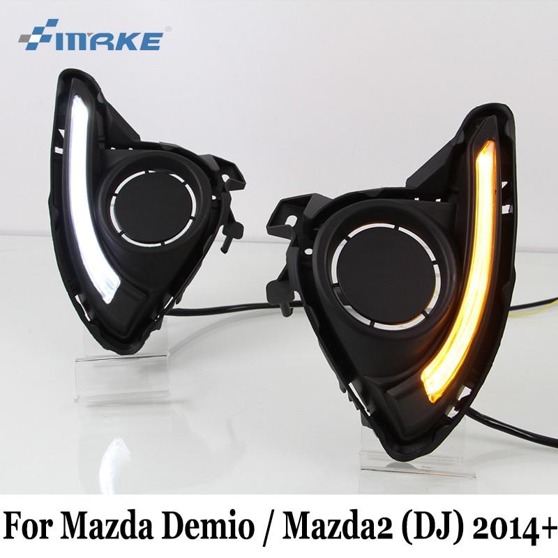 SMRKE DRL For Mazda Demio 2 Mazda2 DJ 2014~Present / Two Colors 12V Car Daytime Running Lights With Fog Lamp Frame / Car Styling авто и мото аксессуары tg cam mazda mazda2 2 demio 2007 top gear ccd rca