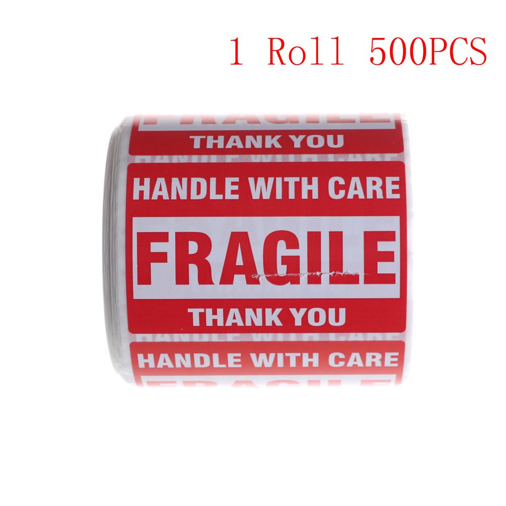 500Pcs/Roll Fragile Shipping Mailing Handle With Care Stickers Warning Sticker 51mm X 76mm Or Warning Label Sticker