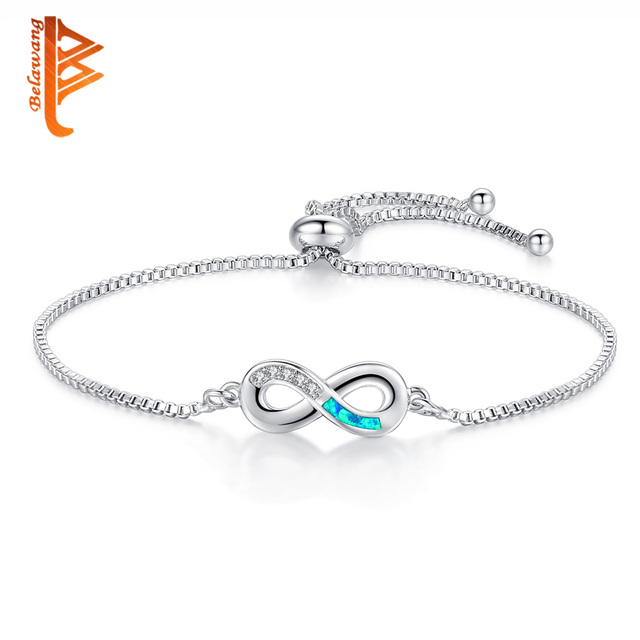 BELAWANG Luxurious Blue Opal Crystal Bracelet Silver Adjustable Infinity Charm Bracelets for Women Fashion Jewelry 2018 New
