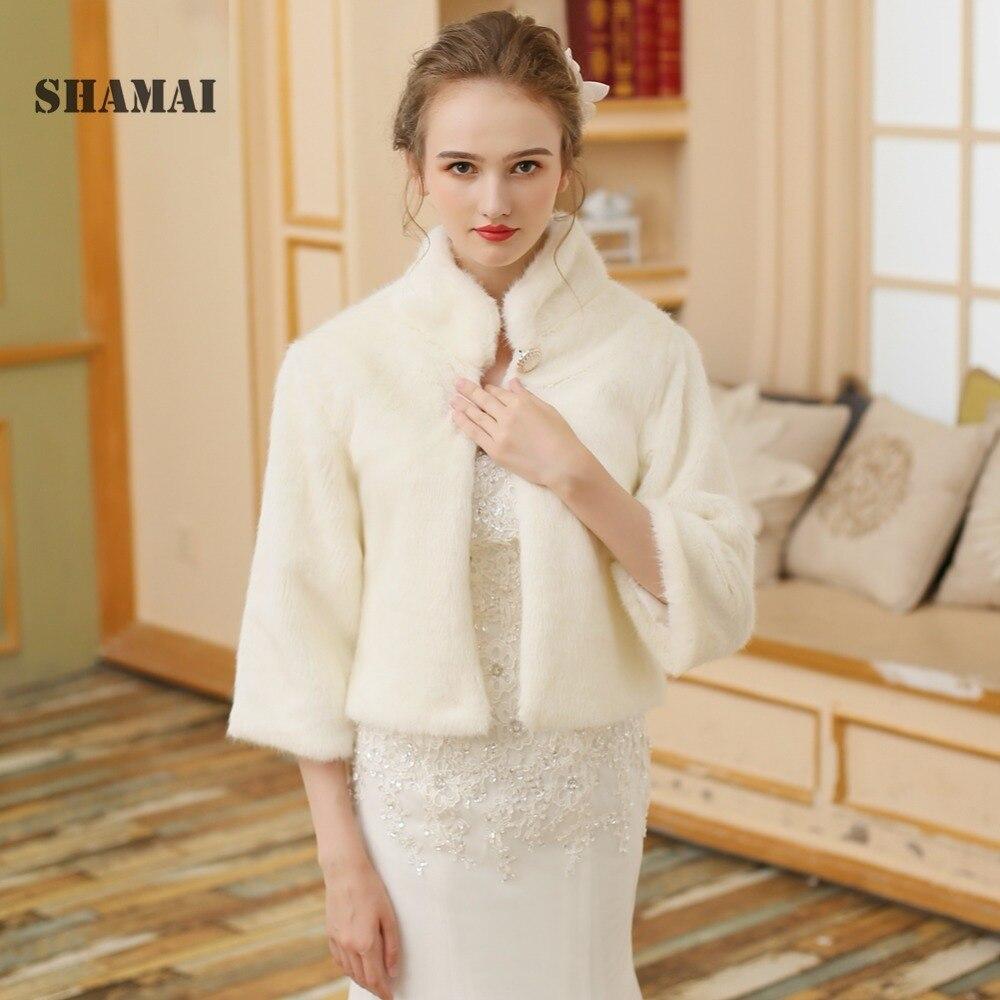 SHAMAI High Collar Wedding Accessories Women Light Champagne Faux Fur Wedding Jacket Bridal Shawl Wrap Stole Shrug Cape Bolero