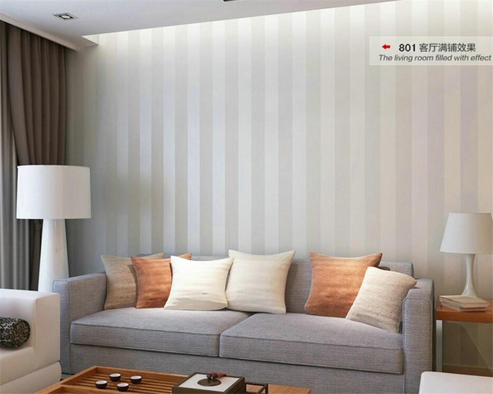 Beibehang Modern simple flocking non  woven wallpaper vertical striped color TV background wall living room bedroom wallpaper  non woven flocking wallpaper modern 3d flower living room tv background home decor wall paper bedroom vertical striped wallpaper