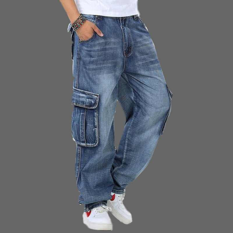 Jeans Men Men's Baggy Jeans Plus Size 30-46 Multi Pockets Skateboard Cargo Jeans For Men Tactical Denim Joggers jeans