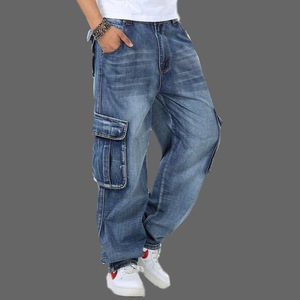 Image 1 - Джинсы мужские мешковатые джинсы Мульти Карманы скейтборд карго джинсы для мужчин Тактические Джинсы джоггеры джинсы размера плюс 30 46