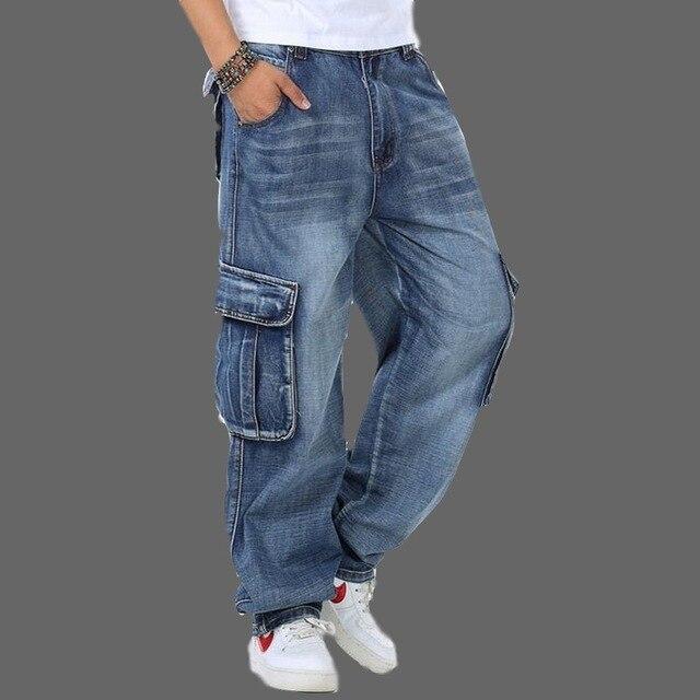 Джинсы мужские мешковатые джинсы Мульти Карманы скейтборд карго джинсы для мужчин Тактические Джинсы джоггеры джинсы размера плюс 30 46