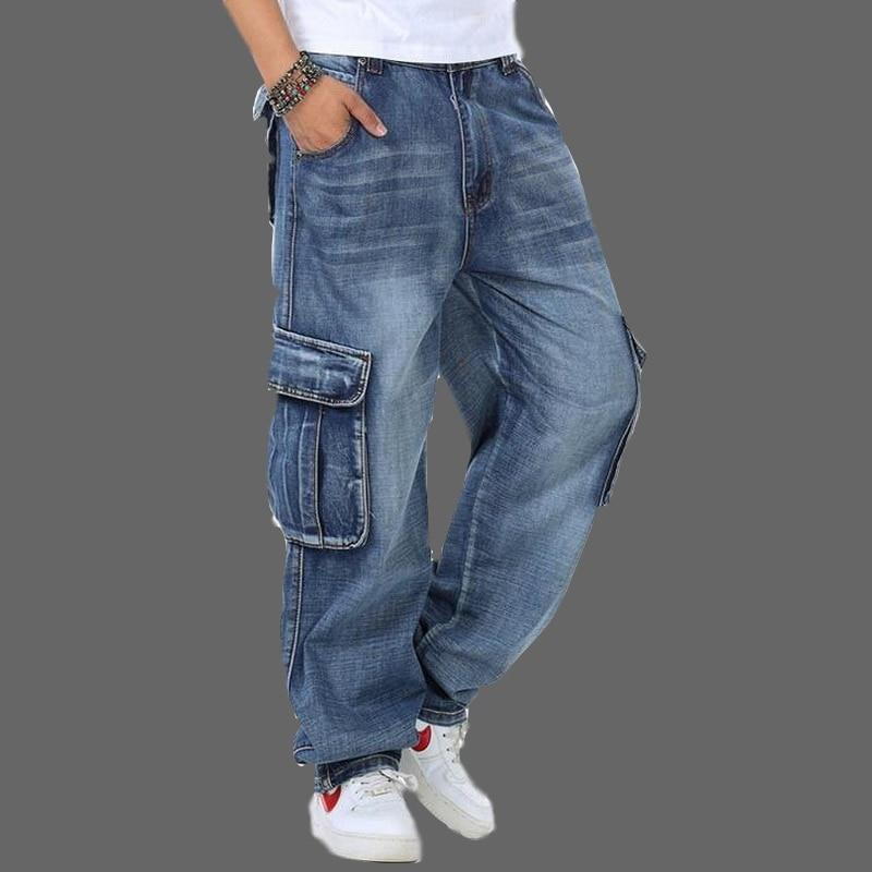 Ausdauernd 2019 Vxo Männer Baggy Jeans Plus Größe 30-46 Multi Taschen Skateboard Cargo Jeans Für Männer Taktische Denim Jogger Jeans