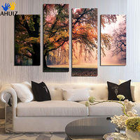 No Frame 4 Panel Modern Printed Pink Tree Landscape Painting Picture Cuadros Decoracion Canvas Painting For