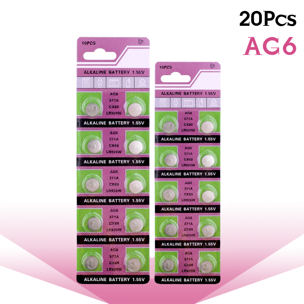 YCDC 20pcs/lot AG6 <font><b>371</b></font> SR920SW LR920 SR927 171 370 L921 LR69 SR920 1.55V Button Cell watch Coin Alkaline <font><b>Battery</b></font> For Watches image