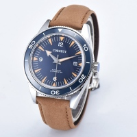 Corgeut 41mm Mens Automatic Watch Blue Dial Sapphire Glass WristWatch Brown Leather Strap Miyota 8215 Mov't Watches 2013BSSL