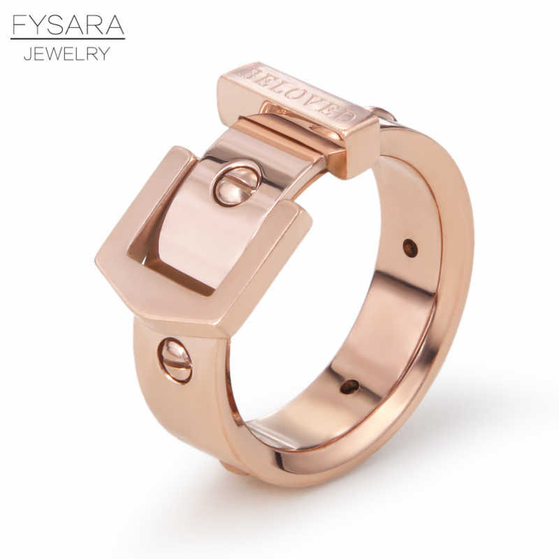 FYSARA 7mm Width Punk Nail Belt Buckle Ring Stainless Steel Rose Gold Color Luxury Love Screw Rings For Women Men Jewelry Gift
