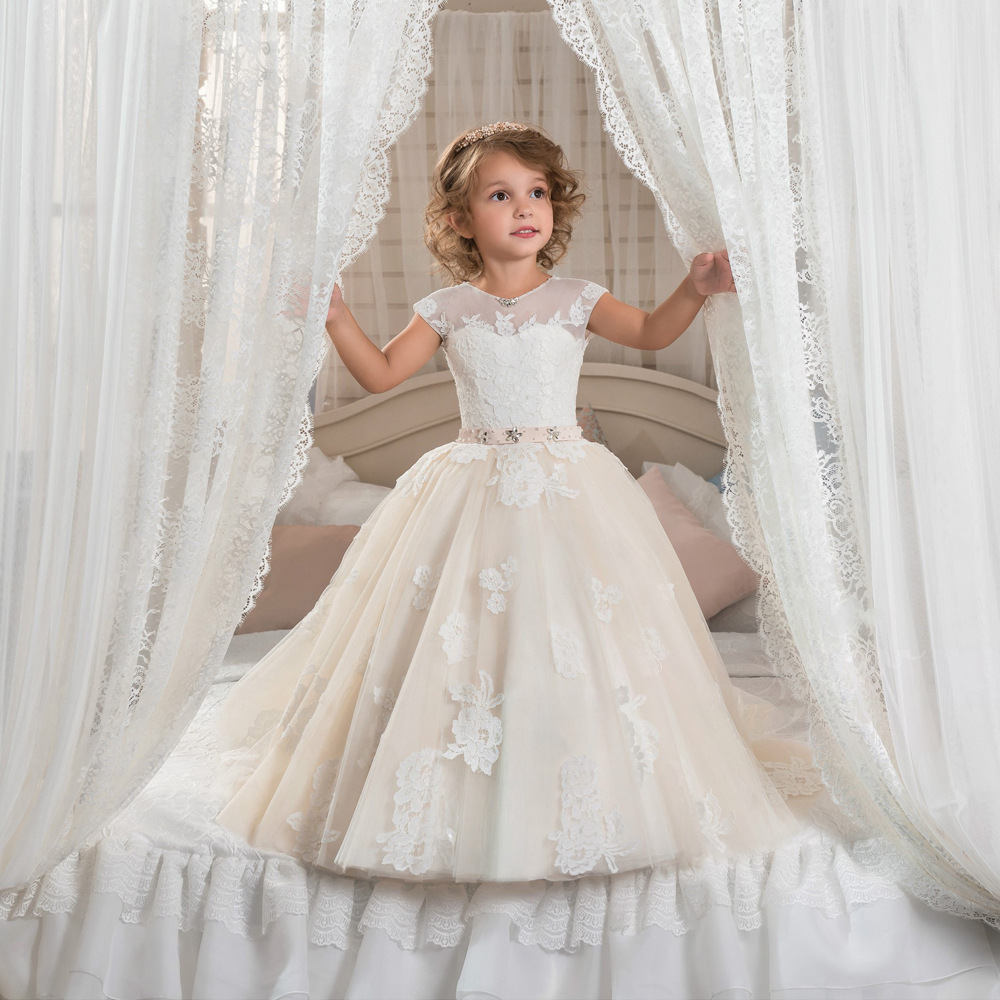 2017 new Custom Girls Dresses Applique short Kids Lace Clothes ...