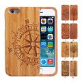 Fashion luxury Wooden Cover For Apple iPhone 5 SE 5S Case Hard Real Wood Bamboo Back Cover For iPhone 5 SE Case Compass Pattern