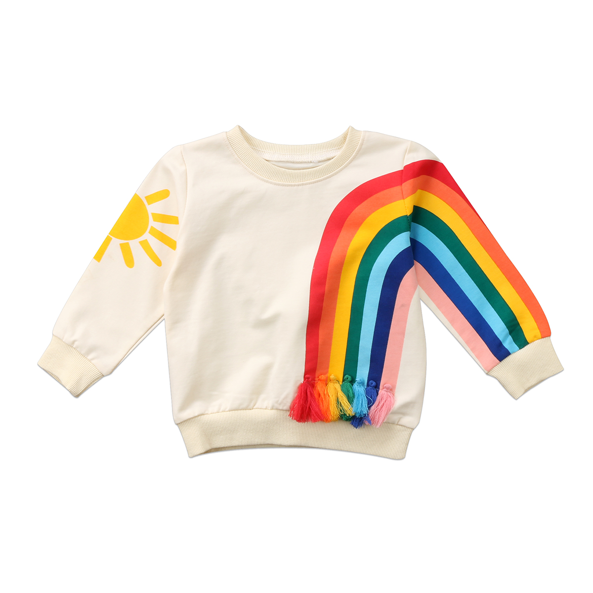 Adorable Toddler Baby Girl Tassel Sweatshirt Kid Girls Rainbow Sunshine Clothes Infantil Baby Pullover Sweats Sweatshirt NEW